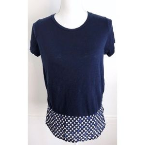 J. Crew • Navy with White Floral Back Panel Blouse